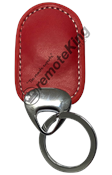 Red Leather Key Tag - Dual Frequency